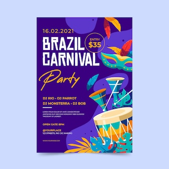 Шаблон флаера бразильского карнавала в плоском дизайне