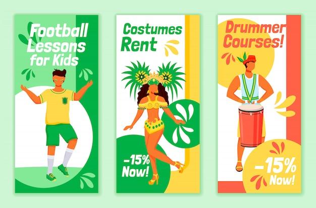 Brazilian carnival flyers flat templates set. football lessons for kids printable leaflet design layout. costumes rent. drummer courses advertising web vertical banner, social media stories