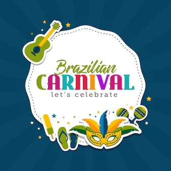 Brazilian carnival greeting card template