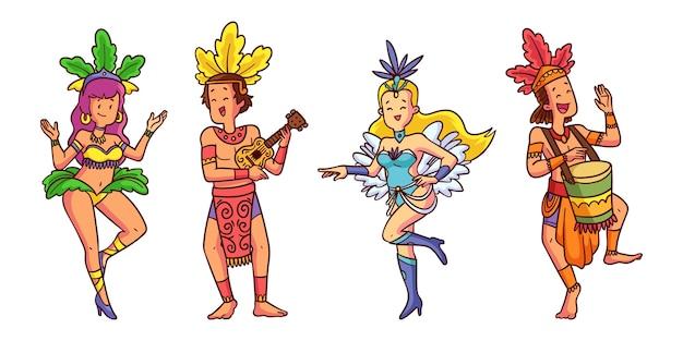 Коллекция иллюстрированных танцоров бразильского карнавала