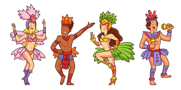 Набор иллюстрированных танцоров бразильского карнавала