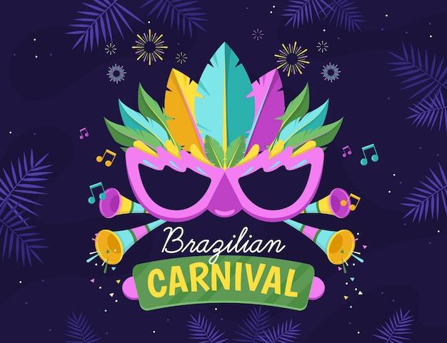 Illustrazione di carnevale brasiliano con maschera