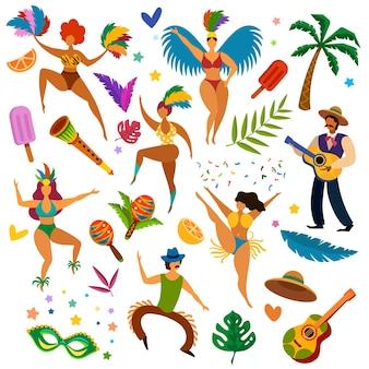 ブラジルのカーニバル。ラテン系の祭りの仮面舞踏会のアイテム、マスク、羽毛。女性ダンサー、楽器、ギタリストのベクトルを設定します。ラテン系カーニバルの休日、女性の仮面舞踏会の漫画イラスト