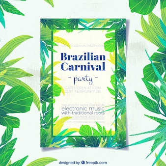 Brazilian carnival leaflet of watercolor leaves palm tree