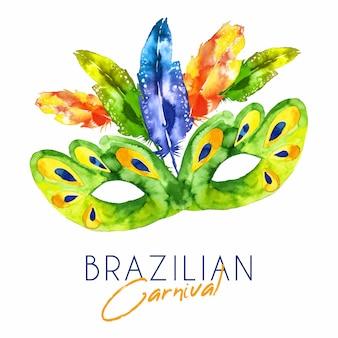 Бразильская карнавальная маска в акварели