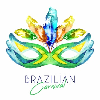 Бразильская карнавальная маска с перьями в акварели