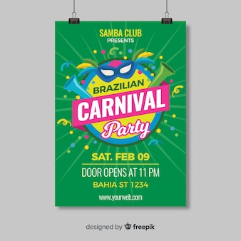 Brazilian carnival party flyer template