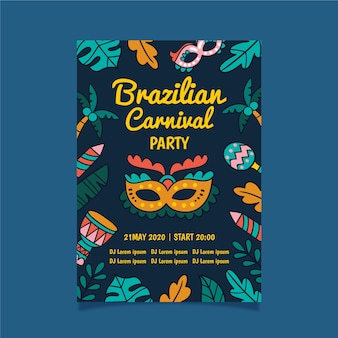 Brazilian carnival party with neon leaves flyer