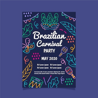 Brazilian carnival party with neon leaves poster