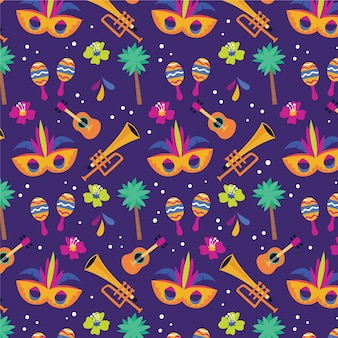 Brazilian carnival pattern in flat design