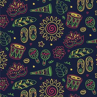 Бразильский карнавальный узор рисованной иллюстрации