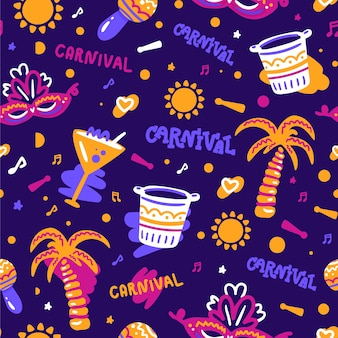 Brazilian carnival pattern hand drawn