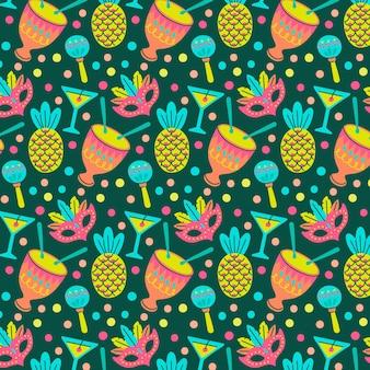 Brazilian carnival pattern hand drawn