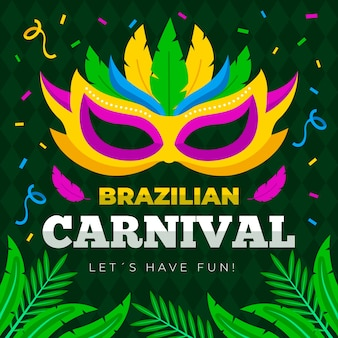 Brazilian carnival pattern with colorful mask