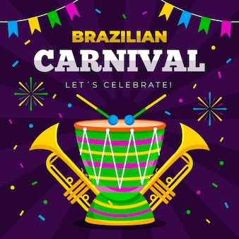 Brazilian carnival pattern with drums