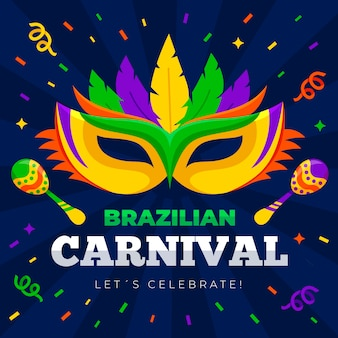 Brazilian carnival pattern with mask