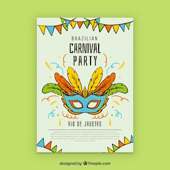 Brazilian carnival poster design with mask and feathers