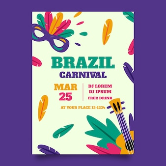 Brazilian carnival poster masks and guitars
