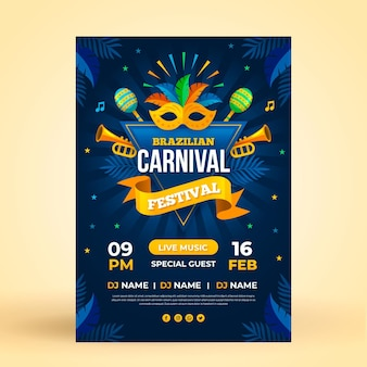 Brazilian carnival poster template in flat design