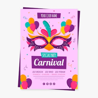 Brazilian carnival poster with beautiful mask illustrated