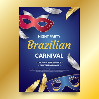 Brazilian carnival poster with masks and feathers