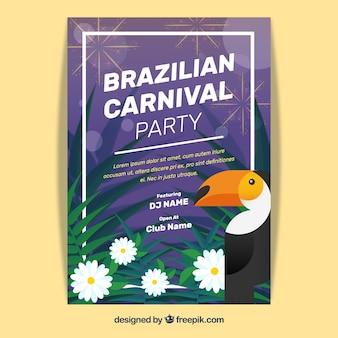 Manifesto di carnevale brasiliano con tucano