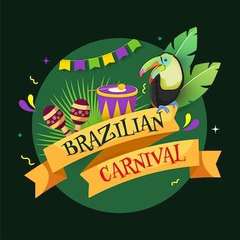 Brazilian carnival text ribbon with cartoon toucan bird Premium Vector