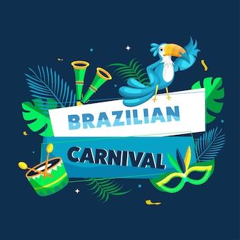 Brazilian carnival text with toucan bird