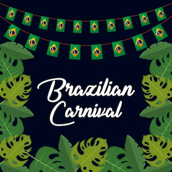 Brazilian carnival with garlands and leafs