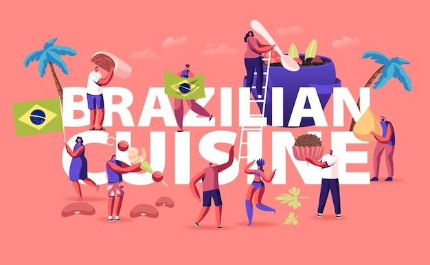 브라질 요리 개념. 만화 평면 그림