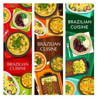 브라질 요리 식사 수직 배너 세트