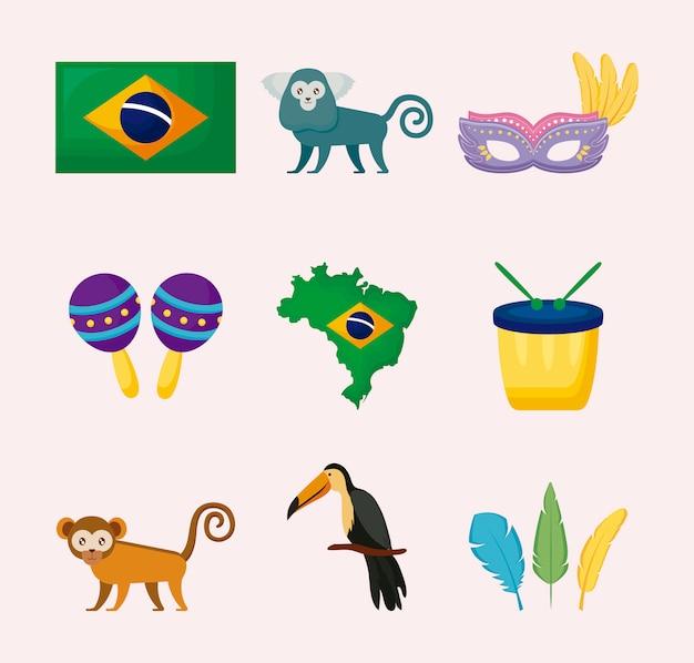 Brazilian culture set icons
