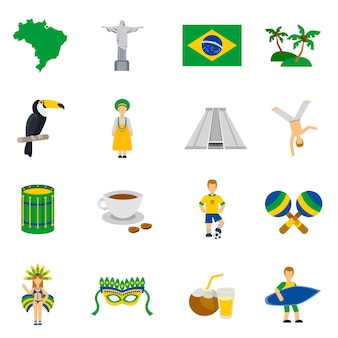 Brazilian culture symbols flat icons set