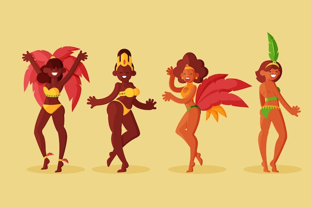 Brazilian dancer with costumes set