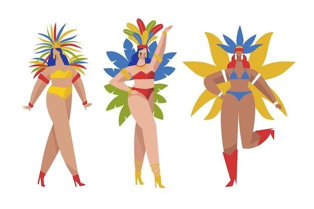 Pack di ballerini brasiliani con costumi