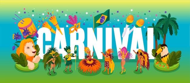 Изометрическая концепция бразильского танцевального карнавала с представлением и забавными символами иллюстрации