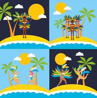 Brazilian garotas dancing carnival characters illustration set