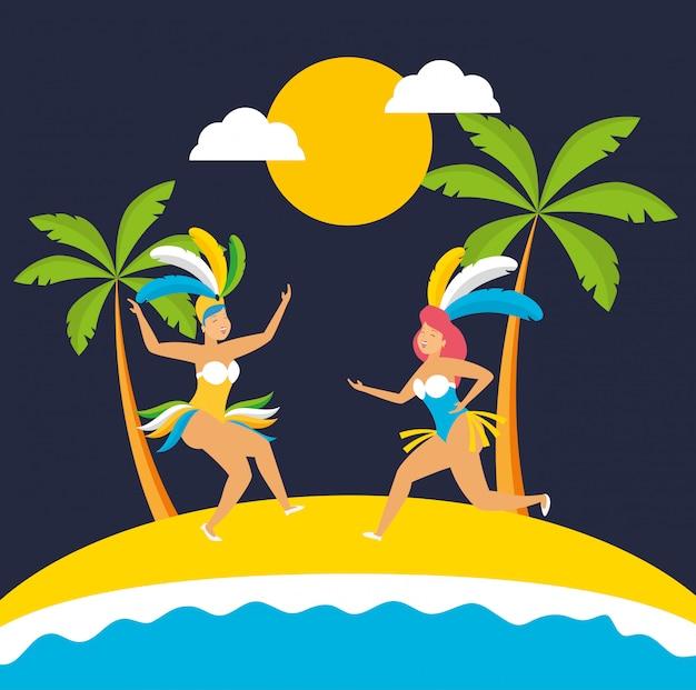 Brazilian garotas dancing carnival characters illustration