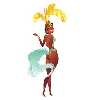 Бразильские танцоры-самбы. карнавал в рио-де-жанейро девушки праздничный костюм