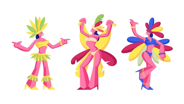 Brazilian samba dancers women isolated on white background, cartoon flat illustration