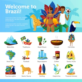 Brazilian traditions landmarks recreational and cultural attractions for tourists flat poster