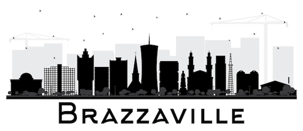 Brazzaville republic of congo city skyline silhouette with black buildings isolated on white