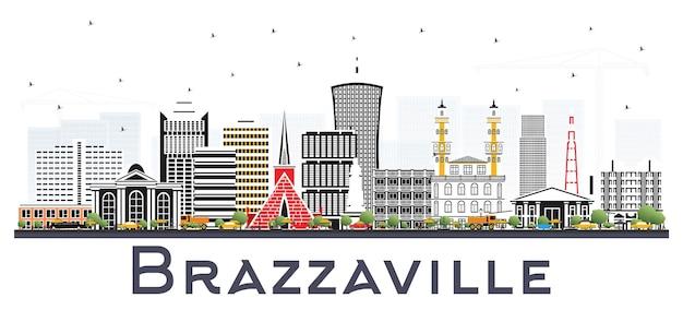 白いベクトルで隔離の灰色の建物とコンゴ市のスカイラインのブラザビル共和国