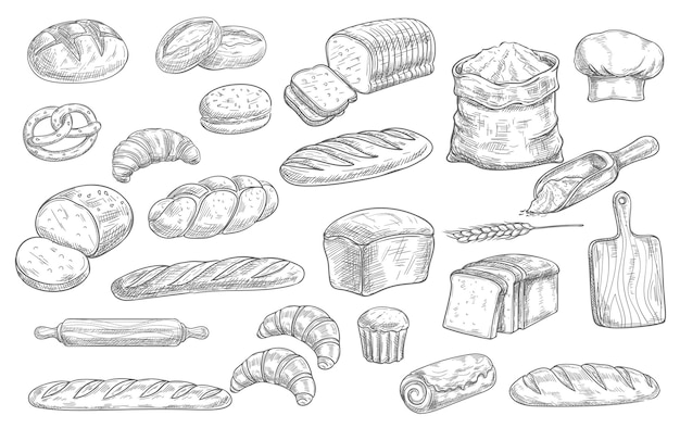 パンとベーカリーの食べ物のスケッチアイコン焼きたてのパン、ライ麦と小麦のパン、クロワッサンとプレッツェル。編みこみお団子