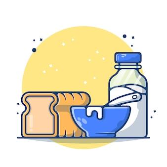 Овсяные хлопья и хлопья с бутылкой молока