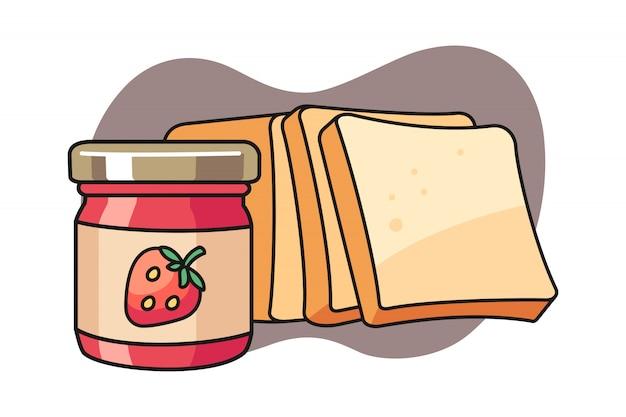 Иллюстрация хлеба и варенья
