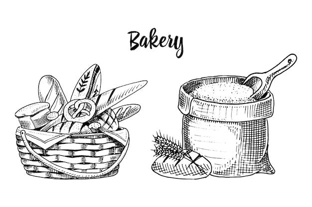 パンと長いパンとペストリー。ラベルとメニューの古いスケッチとビンテージスタイルで描かれた刻まれた手。