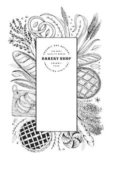 パンとペストリーのバナー。パン屋の手描きイラスト。ヴィンテージデザインテンプレート。