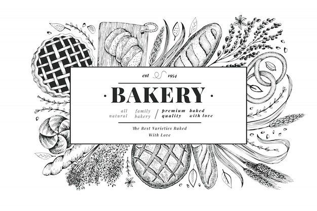 パンとペストリーのバナー。ベクトルベーカリー手描きイラスト。ビンテージデザインテンプレートです。