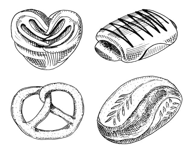 パンとペストリーのドーナツ、甘いパン、またはチョコレートのベーグル。ラベルとメニューのベーカリーショップの古いスケッチとビンテージスタイルで描かれた刻まれた手。